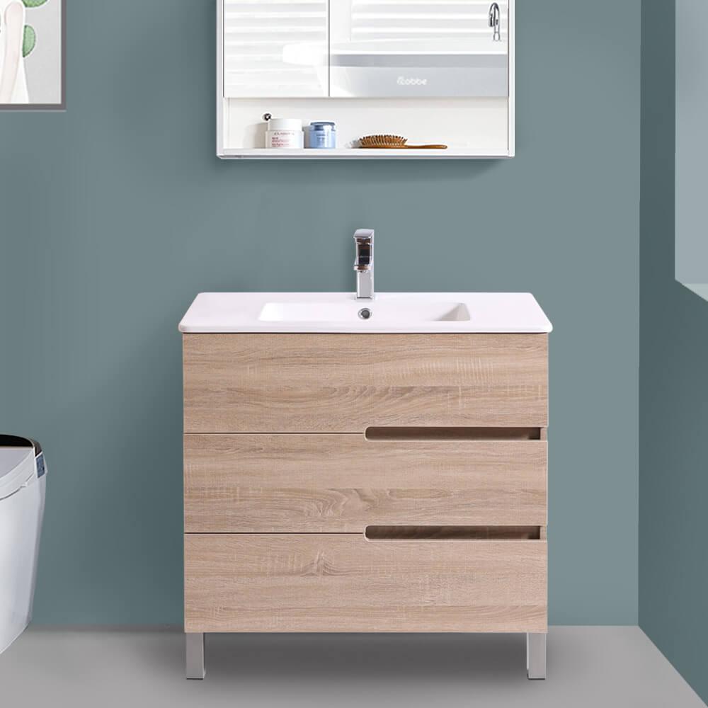 800mm Light Oak Floor Standing 3 Drawer Vanity Unit Basin ...
