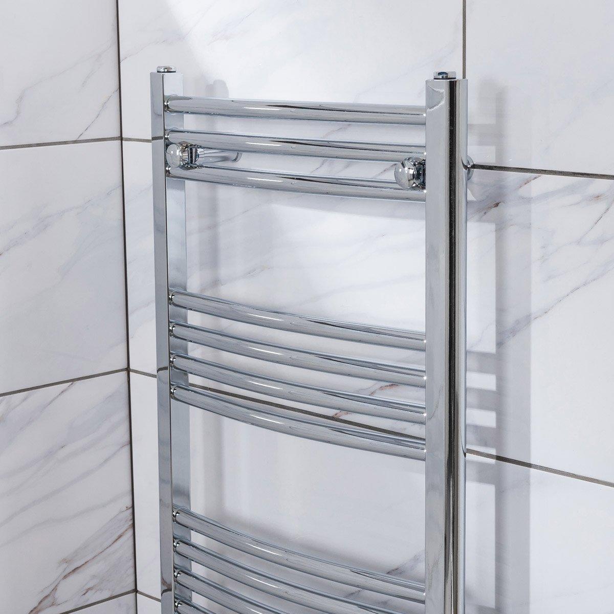 White Bathroom Radiators: Chrome White Curved Bathroom Heated Ladder Towel Rail Rad