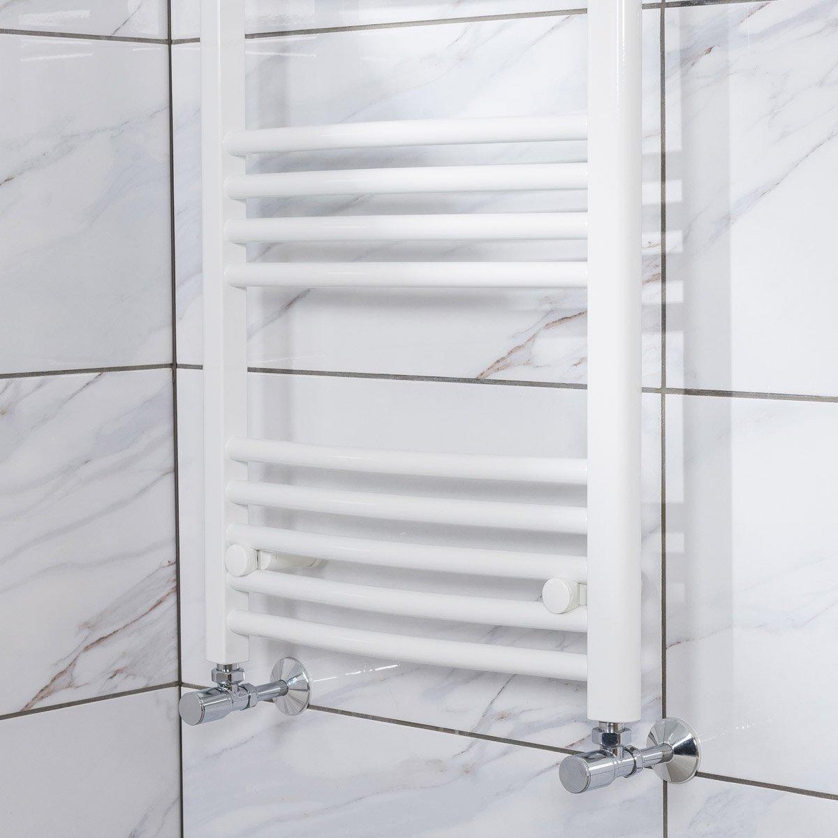 White Bathroom Radiators: Designer White Curved Bathroom Heated Ladder Towel Rail