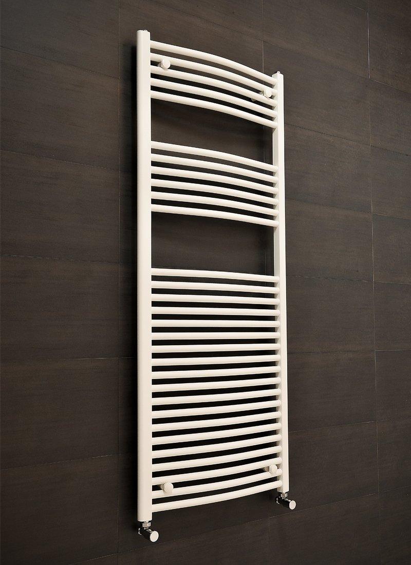 designer white curved bathroom heated ladder towel rail. Black Bedroom Furniture Sets. Home Design Ideas