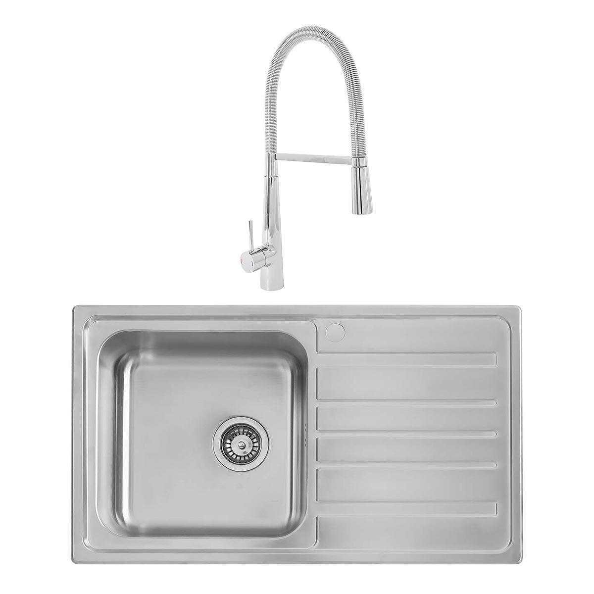Tremendous Details About Modern Kitchen Sink 860X500Mm 1 0 Single Bowl Stainless Steel Waste Rinser Ta Download Free Architecture Designs Scobabritishbridgeorg