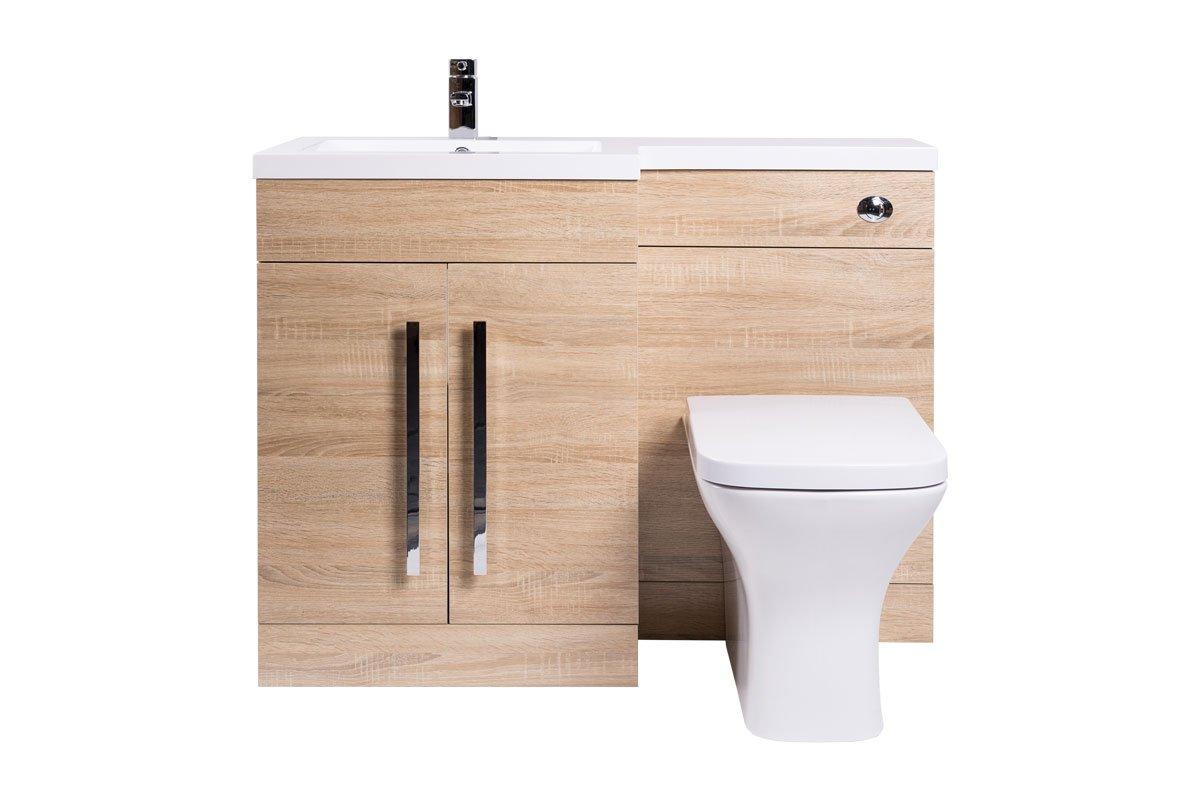 Bathroom vanity unit sets outside shower enclosure